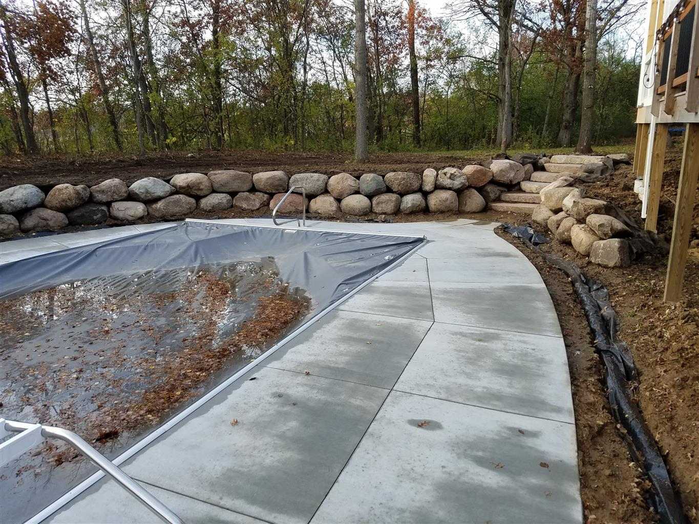 Pool Deck Retaining Wall In Lakeville Ns Landscapes