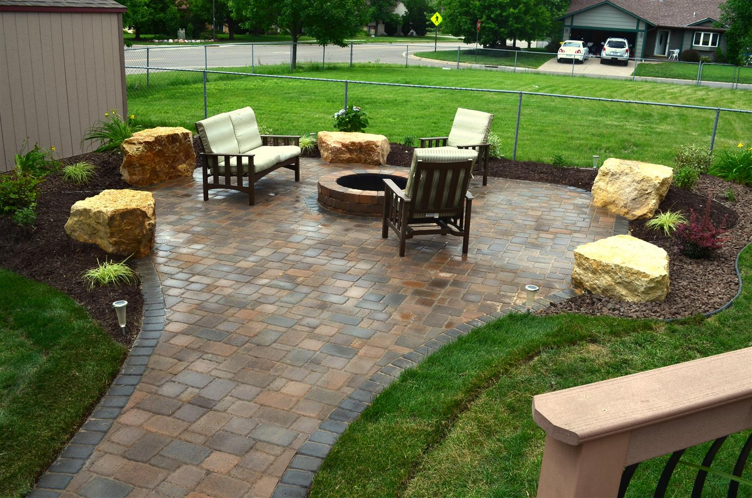 South Metro Patio With Boulder Seating Ns Landscapes