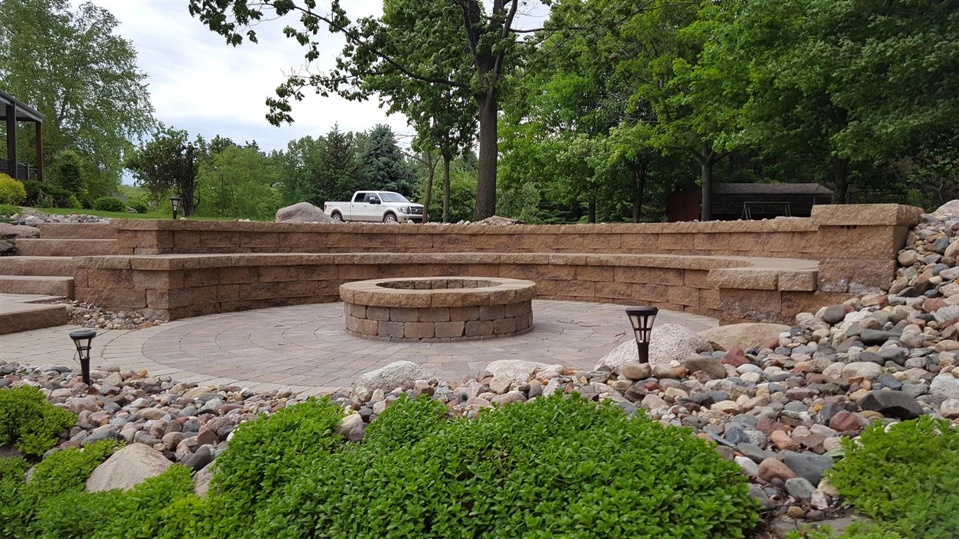 Retaining Wall Seating Cannon Lake Firepit Patio Outdoor Kitchen Ns Landscapes