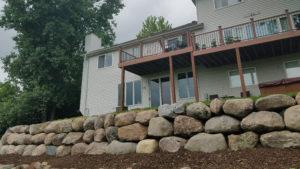 Block, natural stone or boulder wall retaining walls | NS Landscapes